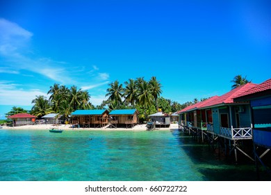 Colorful home stay on Derawan Beach
