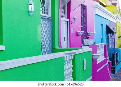 Colorful homes close up in Bo-Kaap, also known as the Malay Quarter of Cape Town, South Africa