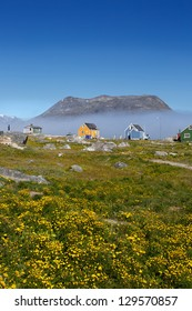 Colorful homes in Nanortalik city in South Greenland.