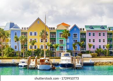 Colorful homes of Nassau coastline, Bahamas.