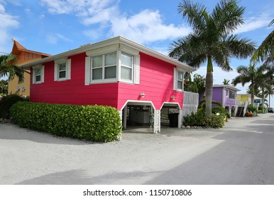 Colorful homes on Fort Myers Beach, Florida