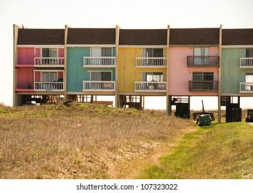 Colorful Homes on the Sea near Galveston, Texas - U.S.A.