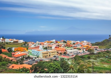 Colorful homes in Vallehermoso town on the island of La Gomera, Canary Islands, Spain