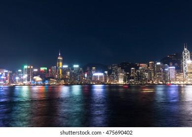 colorful Hong Kong city at night