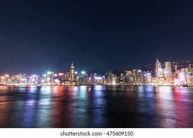 colorful Hong Kong side at night