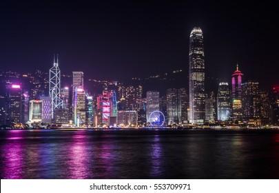 Colorful Hong Kong skyline at night