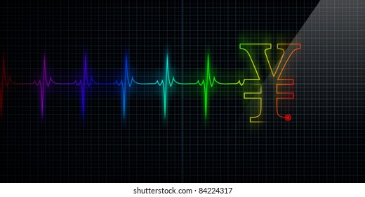 Colorful Horizontal Pulse Trace Heart Monitor with a Japanese Yen or Chinese Yuan symbol in line.
