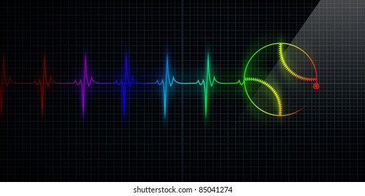 Colorful Horizontal Pulse Trace Heart Monitor with a baseball in line. Concept for sports medicine, baseball players, or die-hard baseball fans.