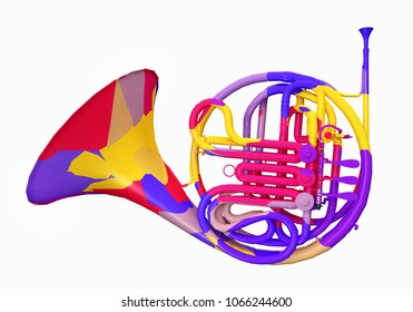 Colorful horn Computer generated 3D illustration