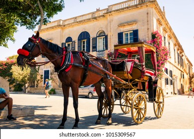 Colorful horse and cart in the Mdina Castle, Malta