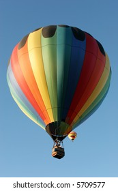 Colorful hot air balloon in the air