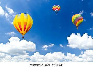 colorful hot air balloon against blue sky