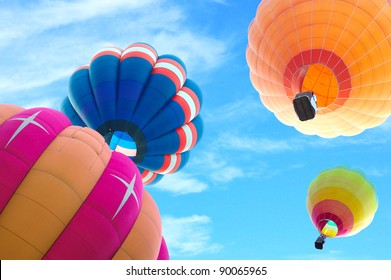colorful hot air balloon with beautiful blue sky and cloud