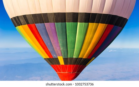 colorful hot air balloon in blue sky background