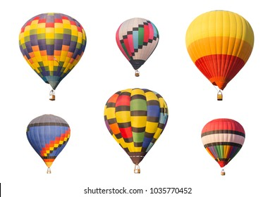 colorful hot air balloon collection on white background