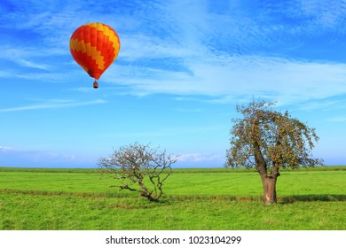 Colorful hot air balloon flying in the beautiful blue bright sky over the green meadow with lonely apple fruit tree. Pastoral landscape.