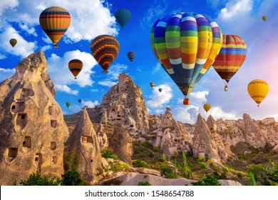 Colorful hot air balloon flying over Cappadocia, Turkey.