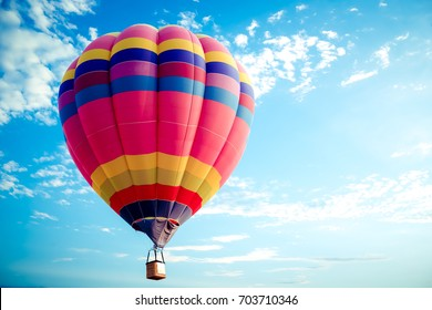 Colorful hot air balloon flying on sky. travel and air transportation concept - balloon carnival in Thailand