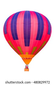 Colorful hot air balloon isolated on white background.