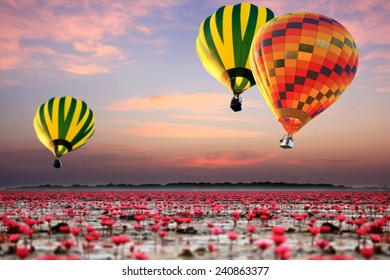 Colorful hot air balloon over talay baudang udonthani thailand