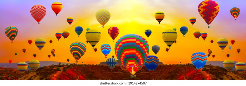 Colorful Hot Air Balloons festival flying panorama mountains landscape sunset nature background sunrise. Cappadocia Turkey