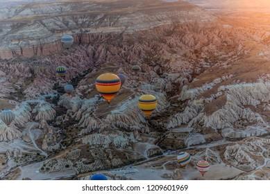 Colorful hot air balloons flying over Cappadocia, Turkey