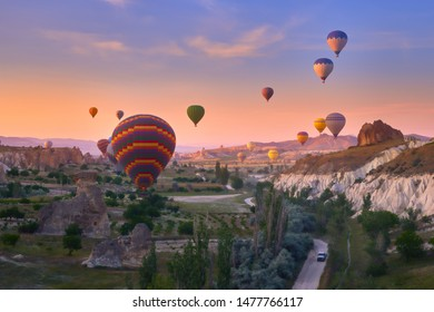 Colorful hot air balloons in Goreme national park, Cappadocia, Turkey.