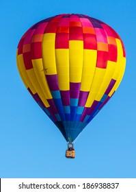 Colorful hot air balloons over blue sky. Albuquerque balloon festival.