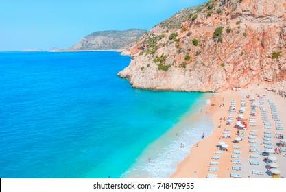 Colorful Hot Summer Landscape of Kaputas Beach - Antalya Turkey