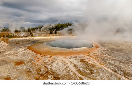 Colorful hot thermal spring and scenery