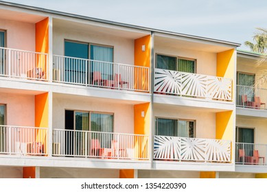 Colorful hotel with balconies in Palm Springs, California
