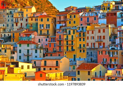 colorful house, buildings and old facade with windows in small picturesque village Manarola Cinque terre in liguria, italy