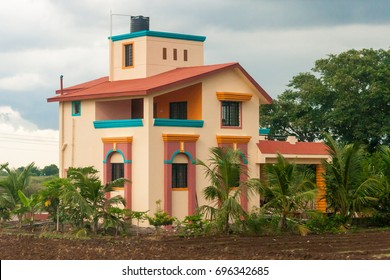 Colorful house in countryside in India