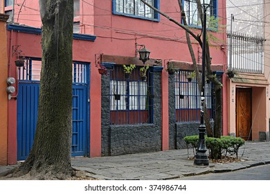 A colorful house in the Coyoacan neighborhood in Mexico City.
