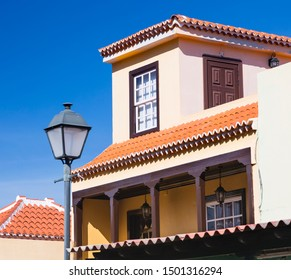 Colorful house with deep blue sky in San Andres village in the east of La Palma, Spain.