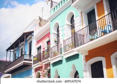 Colorful house facades of Old San Juan, Puerto Rico