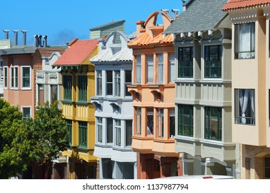 Colorful house facades in San Francisco, California
