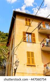 Colorful house of Manarola (Manaea),  La Spezia, Liguria, Italy. It's one of the lands of Cinque Terre, UNESCO World Heritage Site
