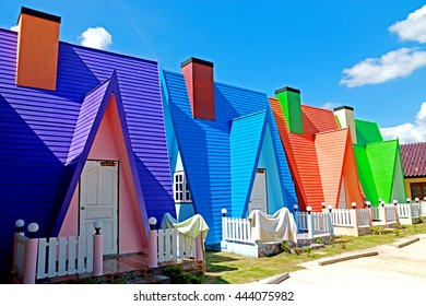Colorful house in resort on blue sky