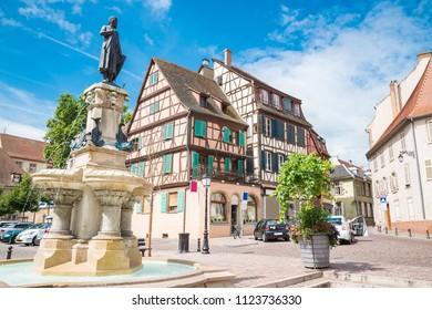 colorful houses along the colmar little venice canals. Colmar, Alsace region, France