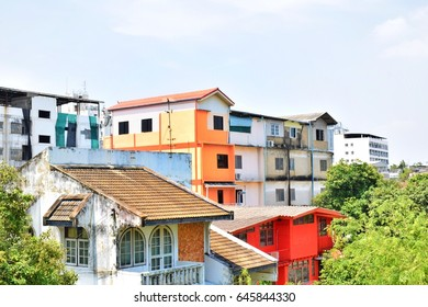 Colorful houses and apartments in crowded areas, Bangkok, Thailand
