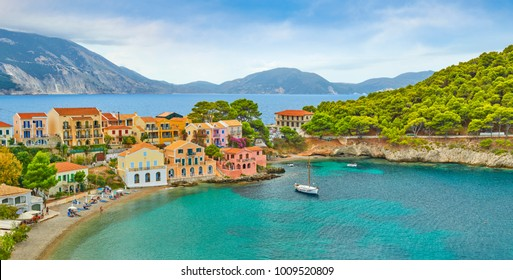 Colorful houses in the Assos village, Kefalonia Island, Greece