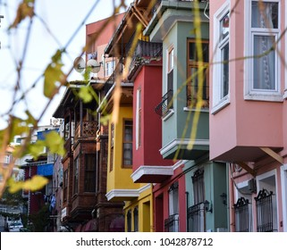 Colorful houses of Balat in Istanbul.