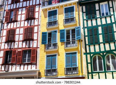 Colorful houses in Bayonne, Aquitaine, Basque Country, France