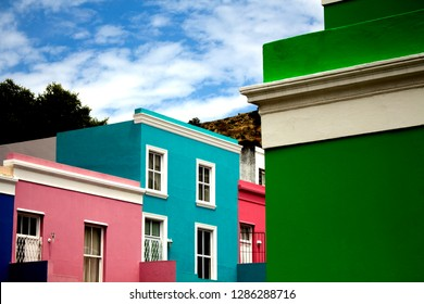 The colorful houses of Bo-Kaap, Cape Town. Picturesque South African landmark. The British style brightly colored buildings in the Muslim Malay Quarter, the former township. The famous historical site