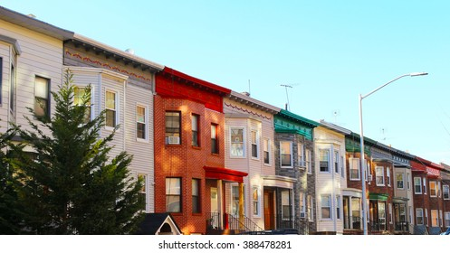 Colorful houses in Brooklyn New York