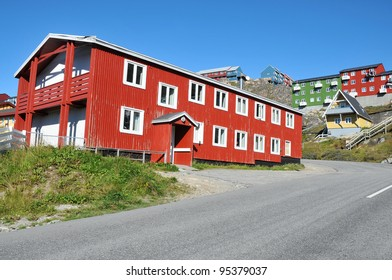 Colorful Houses and buildings in Qaqortoq, Greenland. Qaqortoq is South Greenland's largest town