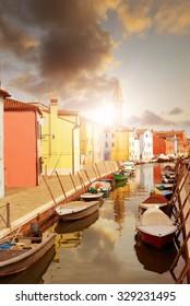 Colorful houses of Burano island near Venice , Italy