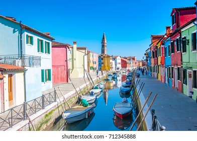Colorful houses of Burano island / small village near the Venice