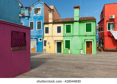 Colorful houses of Burano - island in Venetian Lagoon